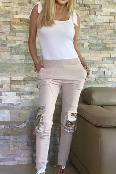 By o la la…! spodnie bojówki beż cekiny kieszenie S