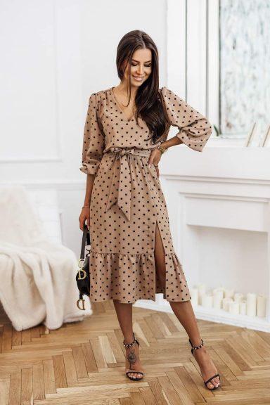 Cocomore beżowa sukienka midi grochy L