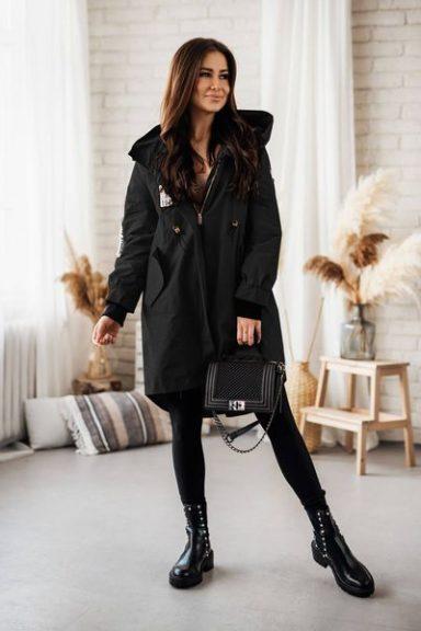 Cocomore czarna kurtka parka płaszcz L