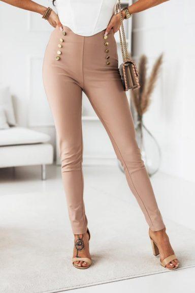 Cocomore beżowe spodnie legginsy z guzikami L