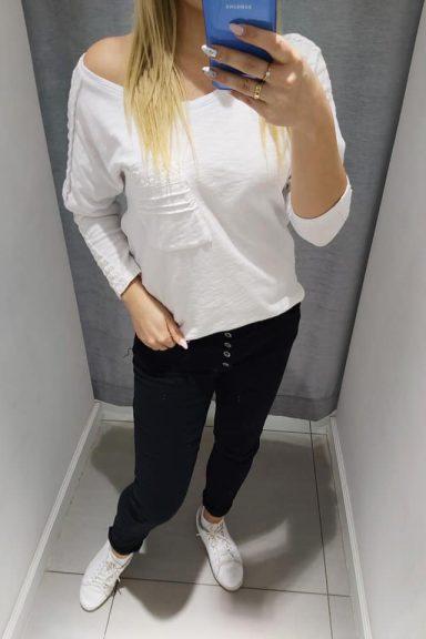 By o la la biała bluzka koronka M